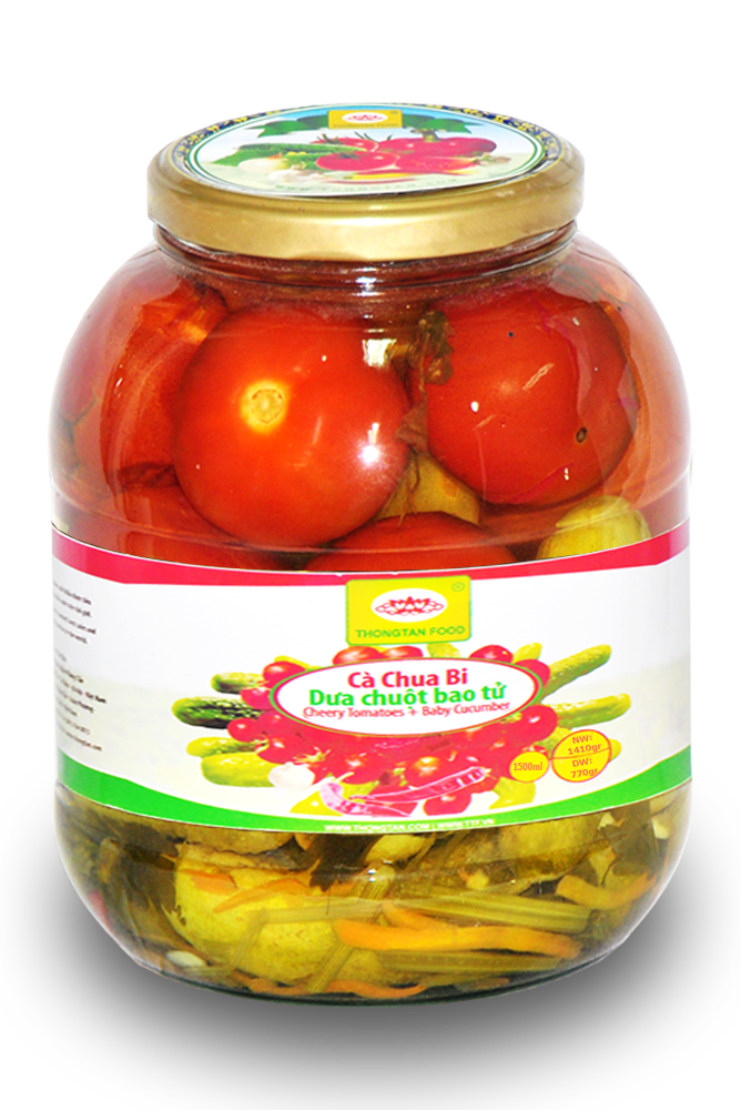 Assorted cucumber & tomatoes in jar