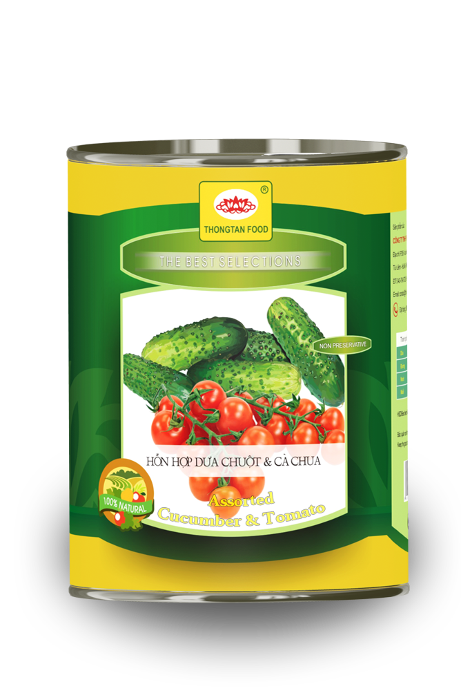 Assorted pickled Cucumber & Tomato in Can
