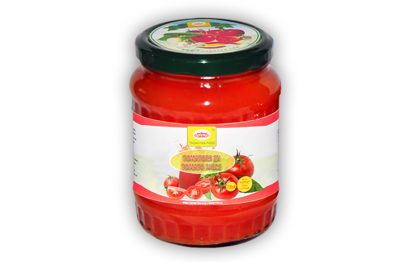 Tomatoes in tomato juice in jar